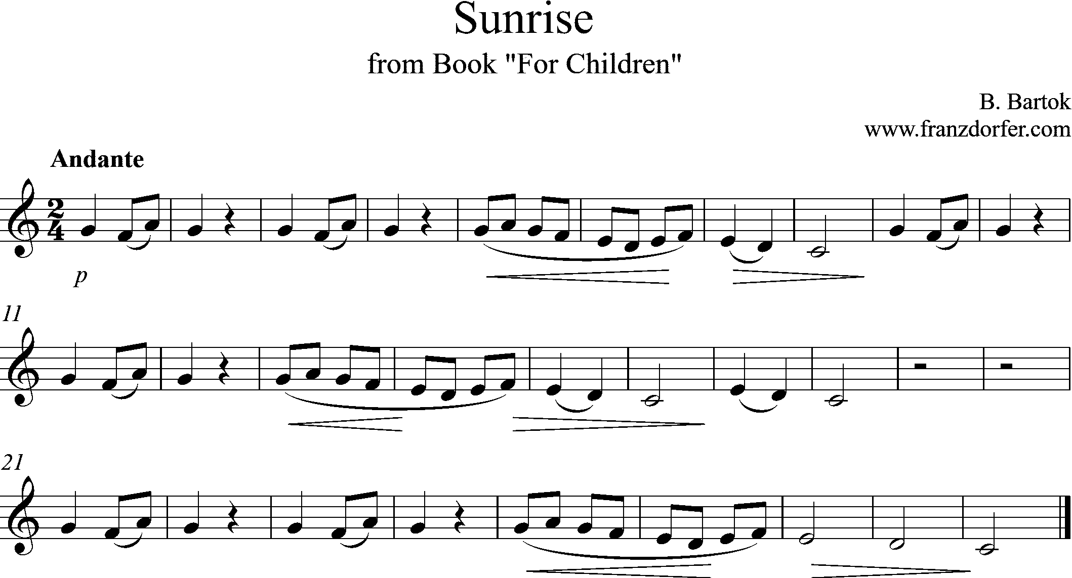 Sheetmusic Clarinet Sunrise